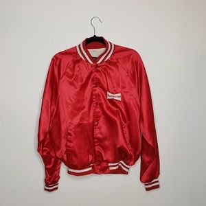 Vintage Budweiser red satin jacket red and white